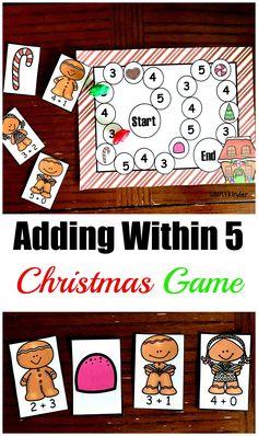 Free Printable Adding To Five Christmas Game