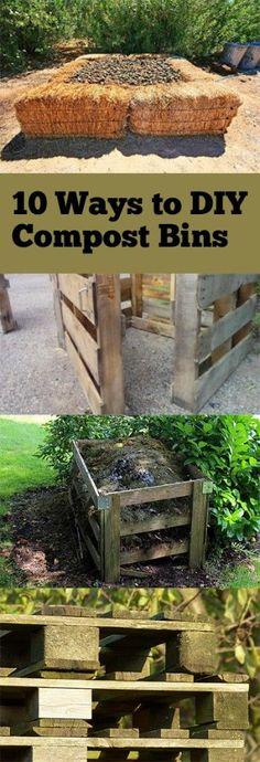 10 ways to diy compost bins garden садоводство, компост и са Garden Compost, Garden Soil, Vegetable Garden, Garden Landscaping, Garden Beds, Gardening For Beginners, Gardening Tips, Composting 101, Garden Projects