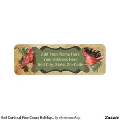 Red Cardinal Pine Cones Holiday Address Labels