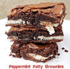 "Directions   Prepare brownie mix as directed. Pour half into a greased 9x13"" baking dish.  Unwrap your peppermint patties and line them up over the bottom layer of batter.  Pour remaining half of batter on top of peppermint patties.  Bake as directed on box.  Let cool and then refrigerate for a couple of hours so that the peppermint patties can set back up.  Enjoy!    **If you want thicker brownies, bake in a 9x9"" baking dish. You will have to bake them in the oven for a longer amount of…"
