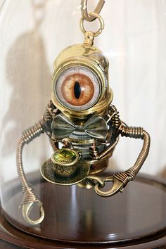 Little Steampunk Minion Robot Sculpture with by CatherinetteRings