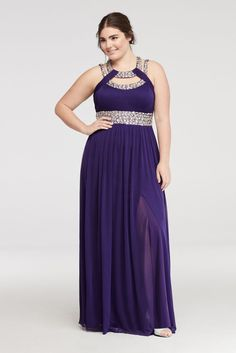 Crystal Beaded Halter Prom Dress with Cut Outs - Iris (Purple), 18