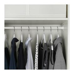 Pin for Later: This Ikea Purchase Is the Answer to All Your Small-Closet Problems I Installed Shelves and Clothes Rails at the Top Pax System, Ikea Pax Wardrobe, Wardrobe Rack, Dressing Ikea, Dressing Room, Ikea Komplement, Trouser Hangers, Tiny Closet, Ikea Family