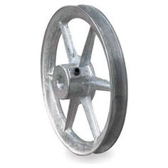 """Fixed Bore Sheave, Spoked, Single Groove by Congress. $15.88. V-Belt Pulley, Fixed Bore, Bore Dia. 3/4 In., Outside Dia. 6.00 In., 1 Groove, Spoked Construction, 3L Belt Pitch Dia. 5.55 In., 4L, A, or AX Belt Pitch Dia. 5.85 In., 3/16 x 3/32 In. Keyway, Die Cast (Zamak #3) Material, For Use With 3L, 4L, or A Type V-Belts Fixed-Bore 1-Groove Die-Cast SheavesPrecision sheaves have machined grooves and bores for high concentricity. Hollow-head setscrews. 6"""" dia. and larg..."""