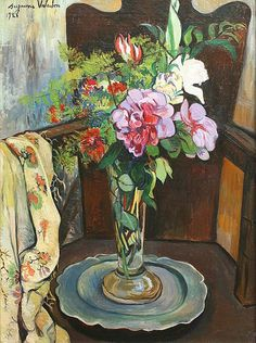 SUZANNE VALADON Vase of Flowers on a Tin Plate (1928)