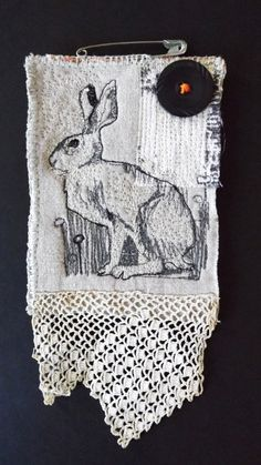 Grey Hare Brooch by MrsBertimus on Etsy