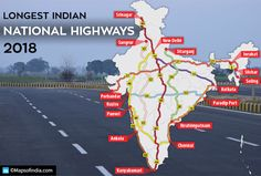 Top 10 Longest National Highways in India 2018 Geography Map, Geography Lessons, World Geography, India World Map, India Map, Teaching Maps, Teaching Geography, Gernal Knowledge, General Knowledge Facts