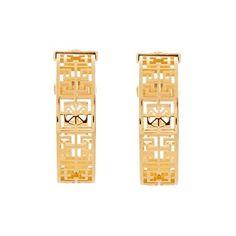 Versace Greek key filigree hoop earings ($470) ❤ liked on Polyvore featuring jewelry, earrings, gold, chunky earrings, chunky jewelry, versace, greek key jewelry and filigree jewelry