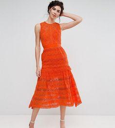 True Decadence Tall Allover Lace Prom Midi Skater Dress - Orange