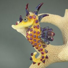 Lampwork Glass Boro Seahorse Pendant Focal Bead by Glassroger, $34.00