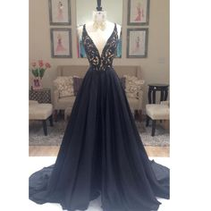 Black Prom Dress Evening Party Gown Deep V Neckline Pst0811 on Luulla