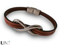 Steel, infinity - leather bracelet
