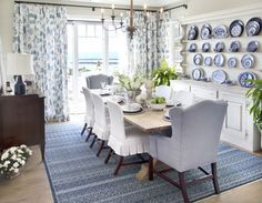 Blue themed dining area