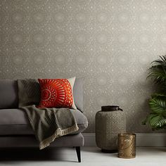 Buy Indian Blue John Lewis & Partners Persia Wallpaper from our Wallpaper range at John Lewis & Partners. Paper Wallpaper, Green Wallpaper, Wallpaper Online, Room Wallpaper, Indian Blue, Blue Colour Palette, Spare Room, Home Collections, John Lewis