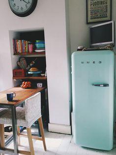 Mint green Smeg fridge