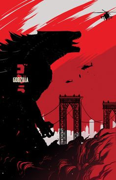 Saw this yesterday in 3D.  The backstory took a little longer than I liked and most of the acting sans Cranston was pretty bland.  Despite these shortcomings, all of monster scenes made this film quite enjoyable overall.  GODZILLA by Dan Mora, via Behance
