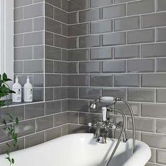 Metro grey bevel gloss tile #bathroomgrey