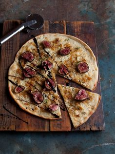 Pizza Bianco with Caramelized Onion, Blue Cheese, Figs, and Balsamic