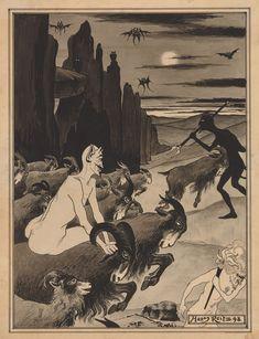 Hans Reitz - Night Scene with Goats and Devils, 1898 Graphic Design Illustration, Illustration Art, Ange Demon, Macabre Art, Monster Art, Surreal Art, Great Artists, Art Pictures, Art Reference