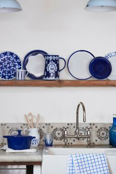 kitchen inspiration - country blue and white collection on open shelves