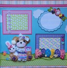 ELITE4U-Laura-EASTER-GIRL-Tear-Bear-Paper-Piecing-Premade-Layout-4-Album-3paperw