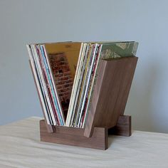 LP Record Stand in Solid Walnut by LLTTgoods on Etsy, $198.00: