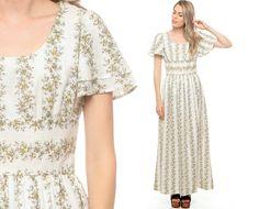 Prairie Maxi Dress 70s Long White FLORAL Maxi FLUTTER by ShopExile, $43.00