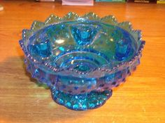 fenton glass candle holder   Fenton Hobnail Bowl Candle Holder Cobalt Blue Excellant Condition WOW ...