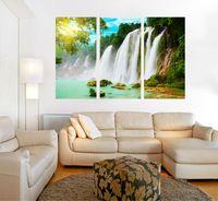 Pf3130 impresso e interno emoldurado 3 painel de pintura a óleo na parede lona de arte fotos para decoração de casa cachoeira e bela árvore
