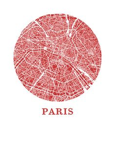 Paris Map Print City Map Poster von OMaps auf Etsy Rouge = vie, sang, circulations, visible