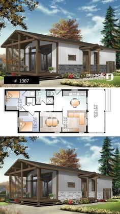 Modern Rustic 700 sqft tiny small house plan very versatile 3 bedrooms lar Modern House Floor Plans, House Plan With Loft, House Plans One Story, Small House Plans, Small House Design, Modern House Design, Modern Rustic Homes, Tiny House Cabin, Bedroom House Plans
