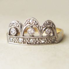 One of a Kind Art Deco Diamond Crown Shaped Ring, 18k Gold, Platinum and Diamond Engagement Ring, Approx.Size US 6.25. $685.00, via Etsy.