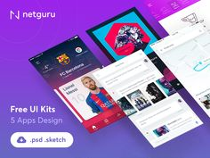 The freebie pack includes 17 different screens from 5 different apps (Meeting App, Football App, CaffeIn App, Music Social App, Conversational UI Free Kit). All apps are complete. Mobile Ui Design, App Ui Design, Mobile App Ui, Ui Kit, Visual Communication, Lionel Messi, User Interface, Free Apps, Screens