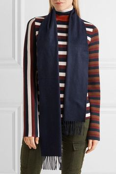 Johnstons of Elgin - Fringed Cashmere Scarf - Navy - one size