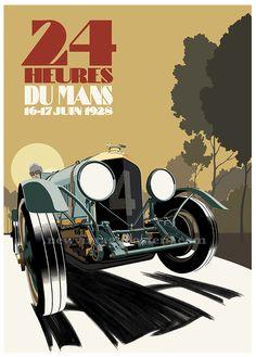 Art deco poster featuring 1928 Bentley at Le Mans 24 Hour race. #Bentley #LeMans #24HeuresDuMans #ArtDeco #ArtDecoPoster Poster Art, Art Deco Posters, Car Posters, Vintage Posters, Le Mans 24, Concept Art, Original Artwork, Street Art, Auburn