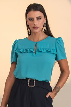 Couture, Ideias Fashion, Ruffle Blouse, Long Sleeve, Sleeves, Tops, Women, Ruffles, Neckline