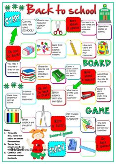 Back to school - board game - English ESL Worksheets for distance learning and physical classrooms English Speaking Game, Speaking Games, English Games, Education English, Teaching English, English Lessons, Learn English, English Primary School, Printable Board Games