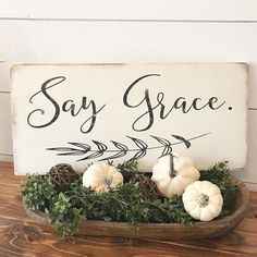 Hi guys! Happy Tuesday! I finished up my Fall yesterday. It was very minimal but I like it. Now I just need some mums and pumpkins outside.  Everyone have a wonderful day!!!  .  .  These Say Grace signs are available in the Etsy shop ••LINK IN BIO••  .  .  .  #saygrace #pray #diningroom #dinnertime #love #sign #woodsign #farmhouse #etsy #handmade #homedecor    #Regram via @currentlychic