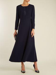 Placket fluted wool-crepe dress (Carl Kapp)