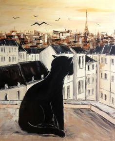 Black le chat sur les toits de Paris, Peinture de JIEL