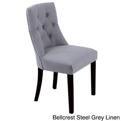 Monsoon Bellcrest Button-tufted Upholstered Dining Chairs (Set of 2) (Bellcrest Steel Grey Linen Chairs (Set of 2)) (Faux Leather)