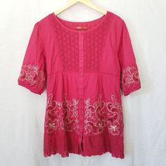 MTM Women's Large Embroidered Floral Tunic Dress Peasant Pink Lace Crochet Boho | Clothing, Shoes & Accessories, Women's Clothing, Tops & Blouses | eBay!