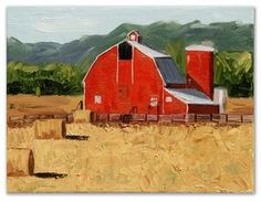 9 x 12 Oil on Canvas. There is something about red barns that inspire me. It is as if they grow right out of the ground. I love barns, especially old barns. They remind me of my childhood and playing in the haystacks. Farm Paintings, Landscape Paintings, Landscapes, Country Farm, Country Life, Big Red Barn, Barns Sheds, Paint And Sip, Red Barns