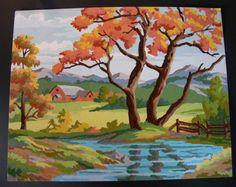 Fall Farm House Landscape Autumn 18  x 12 Inches Vintage Preworked Needlepoint