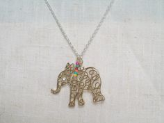 Elephant Necklace Soft Gold Elephant Pendant Africa by JypsyJewels