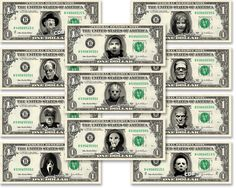 592247a0e84 Classic Horror Movie 11-set Dollar Bill REAL Dollar Bill Cash Money  Collectible Memorabilia