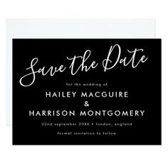 Chic Typographic Save the Date Announcement - wedding invitations diy cyo special idea personalize card