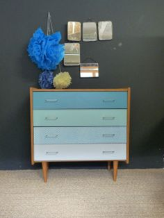 commode vintage relookee bleu vert turquoise gris 1