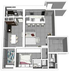 Projeto do escritório Atelier da Reforma - Apartamento Alto da Mocca - Estudo do 3D no programa SketchUp.