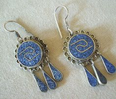 Vintage MEXICO Alpaca Silver EARRINGS Crushed LAPIS Chip Mosaic INLAY Pierced
